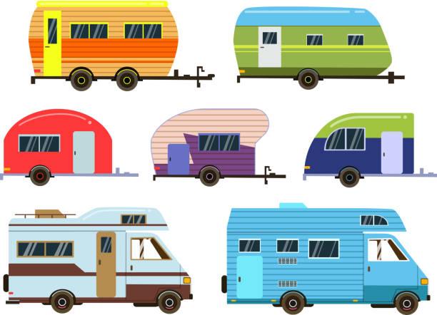 camper-autos gesetzt. anderen ort anhänger. vektor-bilder im flachen stil - campinganhänger stock-grafiken, -clipart, -cartoons und -symbole