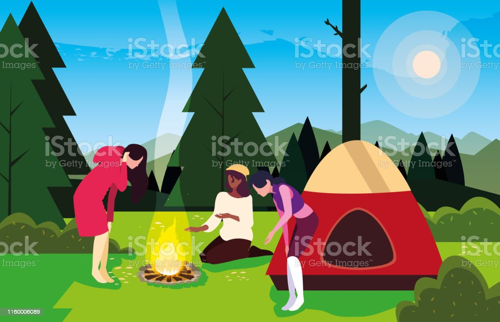 campers in camping zone with tent and campfire day landscape vector...