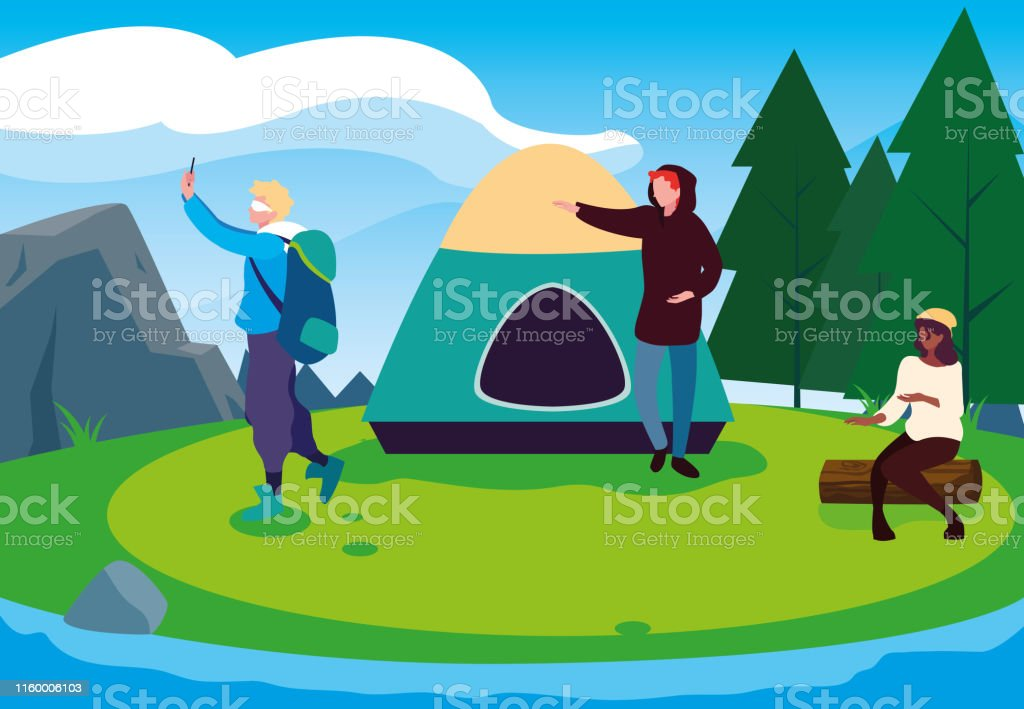 campers in camping zone with tent day landscape vector illustration...