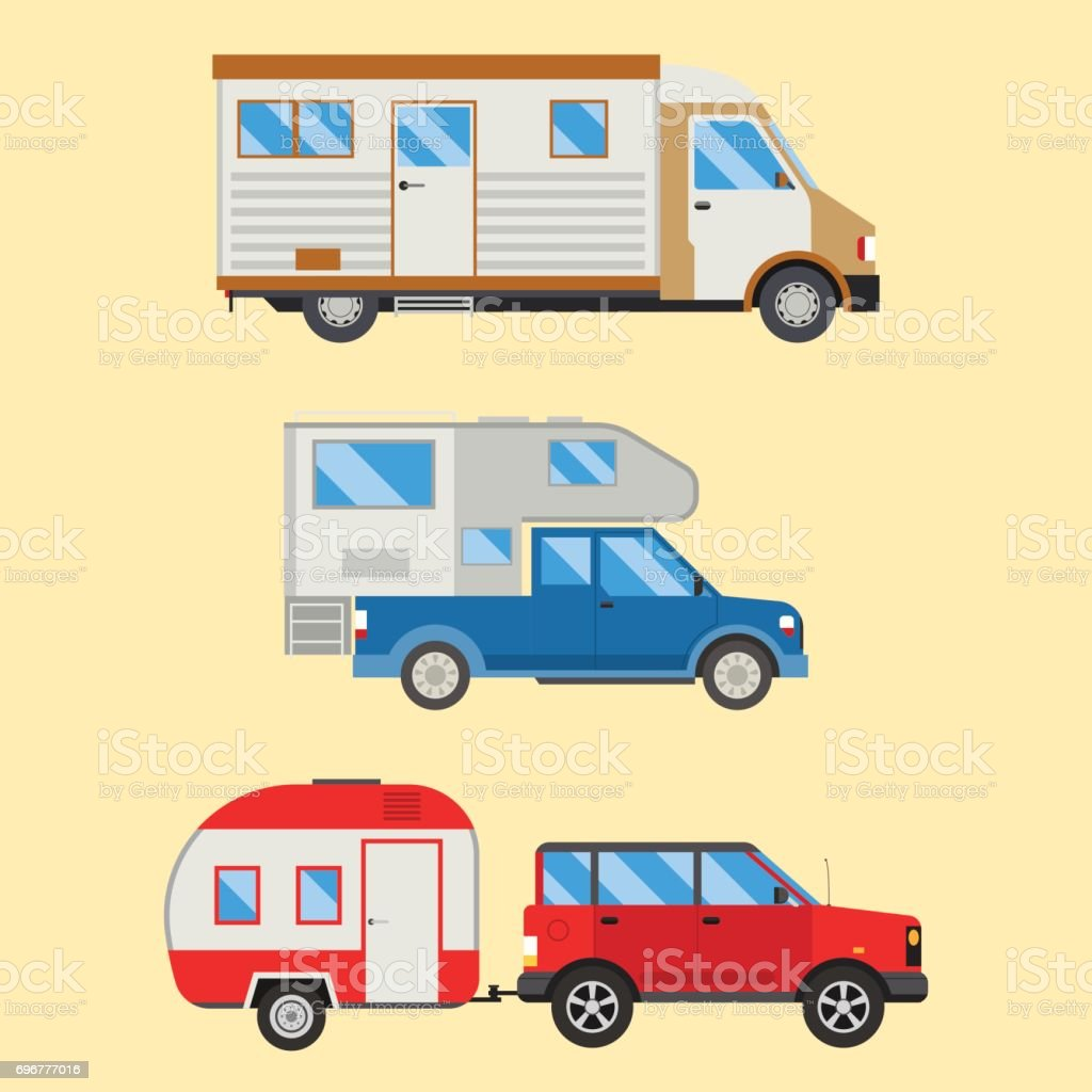 Kamp Tatil Seyahat Araba Yaz Doğa Tatil Römork Ev Vektör çizim Düz