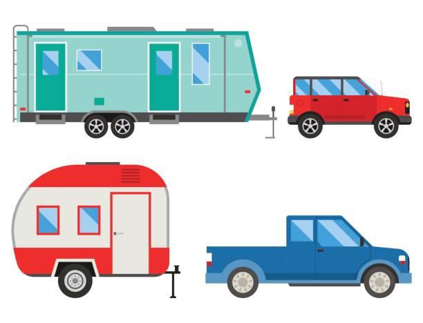camper-urlaub reisen auto sommer natur urlaub anhänger haus vektor illustration flach-transport - wohnwagenanhänger stock-grafiken, -clipart, -cartoons und -symbole