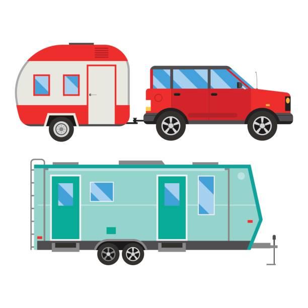 camper-urlaub reisen auto sommer natur urlaub anhänger haus vektor illustration flach-transport - campinganhänger stock-grafiken, -clipart, -cartoons und -symbole