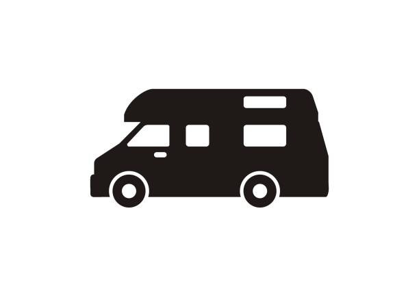 Campervan simple icon in black and white. simple icon illustrating a campervan in black and white. rv interior stock illustrations