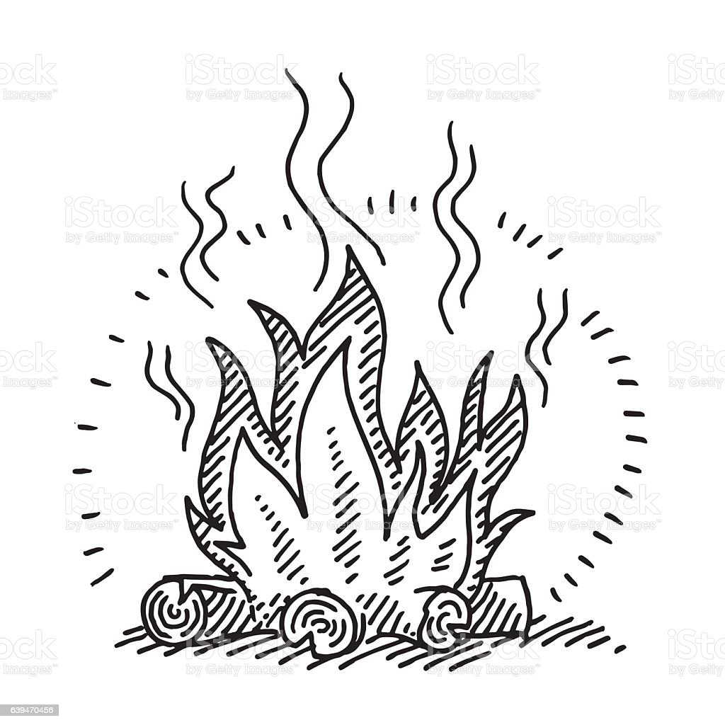 Campfire Drawing Royalty Free Stock Vector Art Amp More Images Of Black