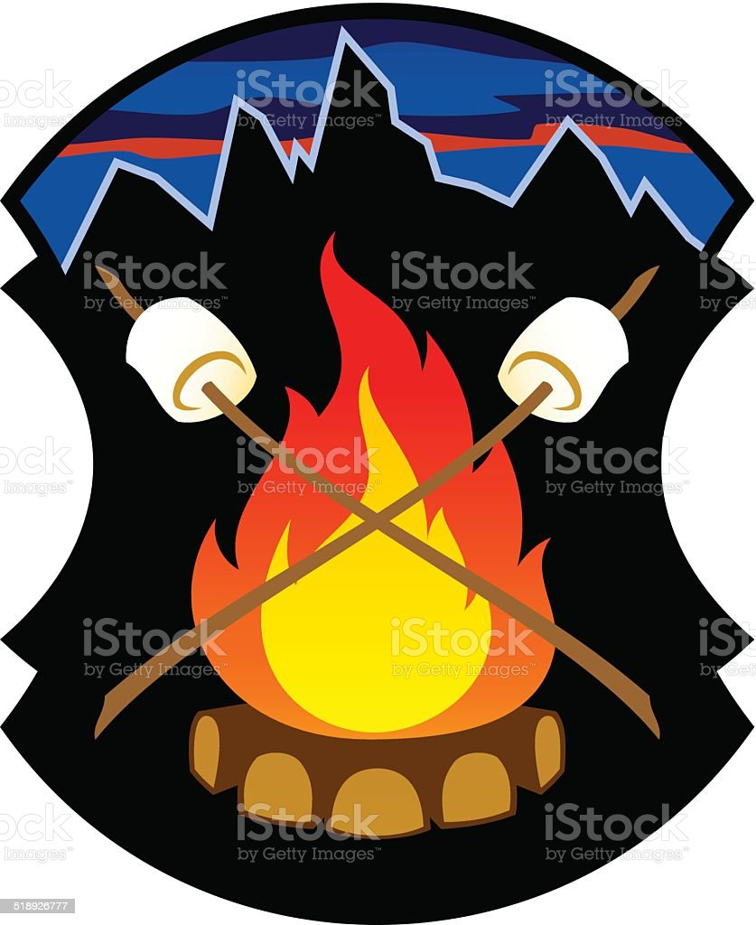 campfire emblem vector art illustration