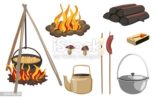 istock Campfire equipment, outdoor adventure set, camping, hiking, travel, tourism theme. Hand drawn vector illustrations. Colorful cartoon cliparts isolated on white. For design, print, decor, card, sticker 1309139155