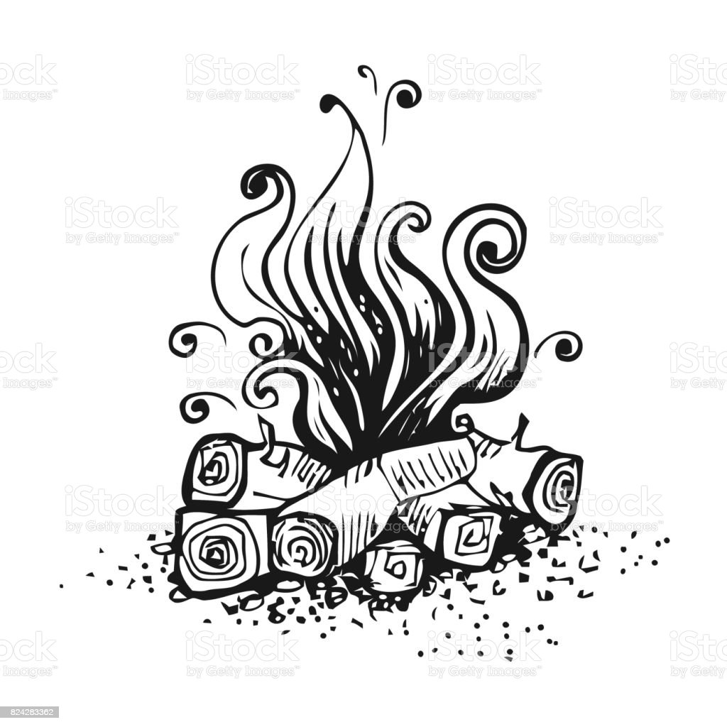 Campfire, fire over wood logs. Black and white graphic vector illustration, isolated on white. vector art illustration