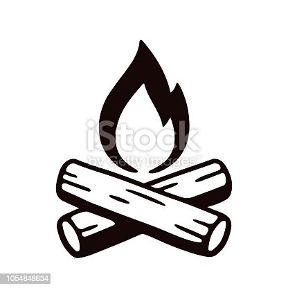 Campfire hand drawn vector illustration, retro style hand drawn icon. Crossed logs and cartoon fire flame.