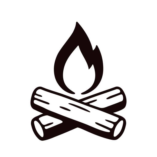 illustrazioni stock, clip art, cartoni animati e icone di tendenza di campfire hand drawn illustration - falò