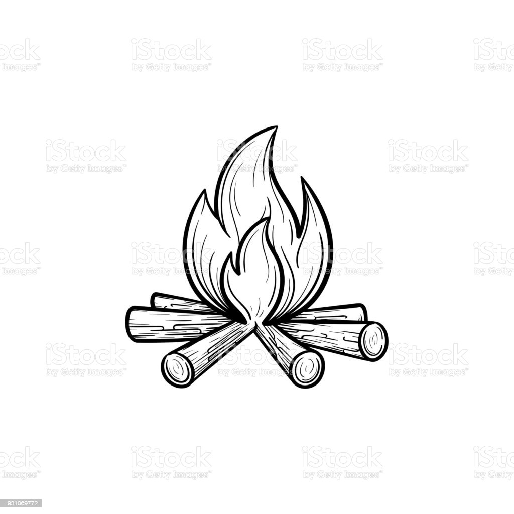 Campfire hand drawn sketch icon vector art illustration
