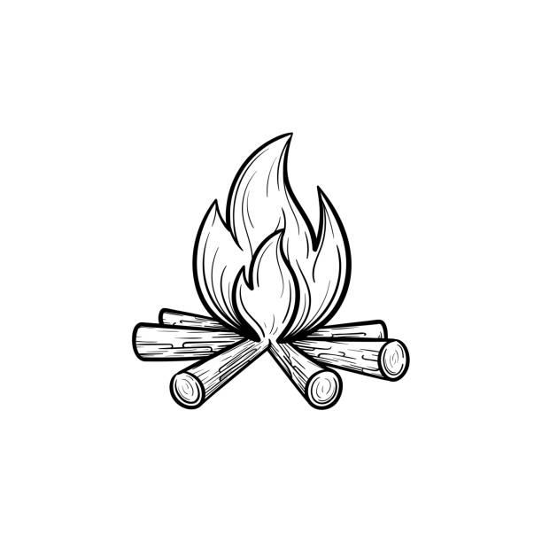 illustrazioni stock, clip art, cartoni animati e icone di tendenza di campfire hand drawn sketch icon - falò