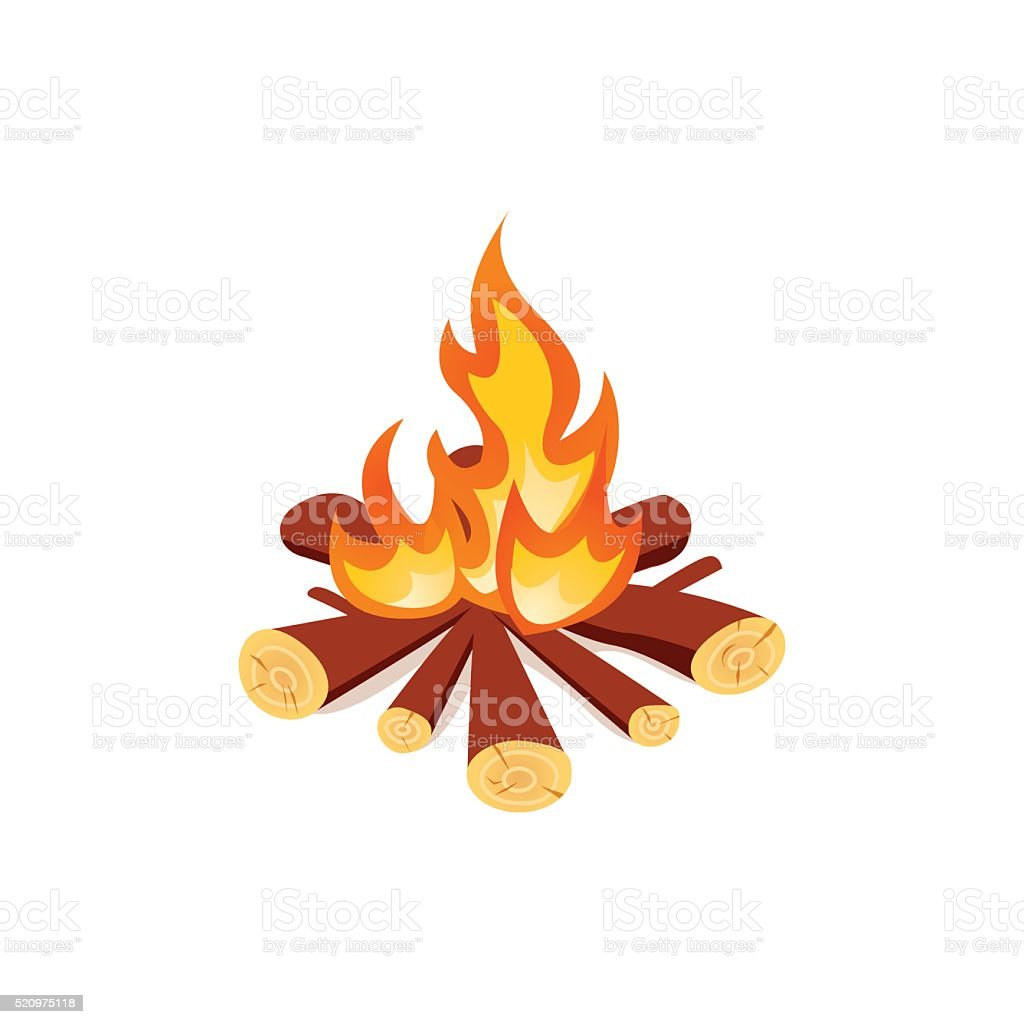 Campfire isolated on white background. Bright bonfire in cartoon style vector art illustration
