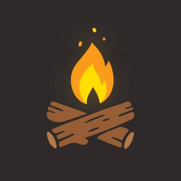 illustrazioni stock, clip art, cartoni animati e icone di tendenza di campfire logo illustration - falò