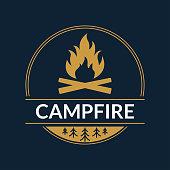 Campfire logo or badge. Fire or bonfire symbol. Camp, outdoor adventure design concept. Vector illustration.
