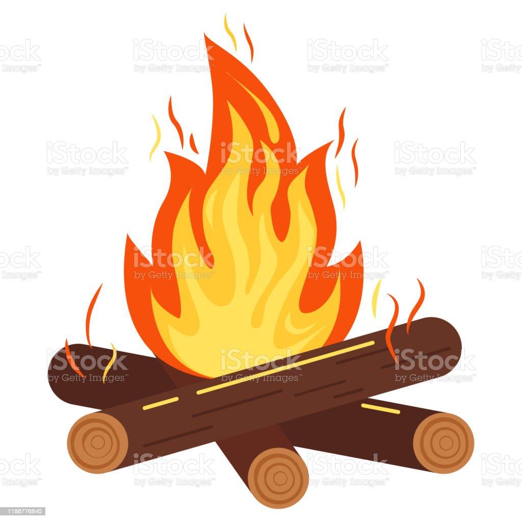 Kampvuur of vreugdevuur pictogram vector illustratie van brandende vreugdevuur met vonken, hout logs geïsoleerd op witte achtergrond. - Royalty-free Aansteken vectorkunst