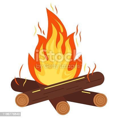 Campfire or bonfire icon. Vector illustration of burning bonfire with sparks, wood logs isolated on white background. Flat design cartoon style sign for web, print, decoration, bonfire night.