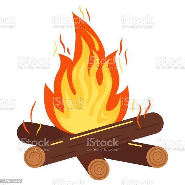 Kampvuur Of Vreugdevuur Pictogram Vector Illustratie Van Brandende Vreugdevuur Met Vonken Hout Logs Geïsoleerd Op Witte Achtergrond Stockvectorkunst en meer beelden van Aansteken
