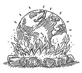Campfire Planet Earth Global Warming Drawing