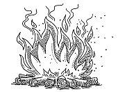 Campfire Symbol Drawing