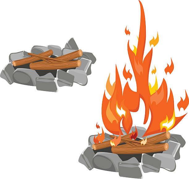 bildbanksillustrationer, clip art samt tecknat material och ikoner med campfire - wood stone