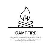 Campfire Vector Line Icon - Simple Thin Line Icon, Premium Quality Design Element