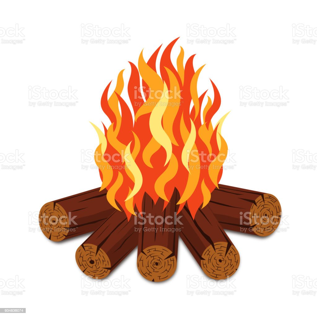 Campfire with firewood and flame torch in cartoon style. Bonfire with woodpile isolated on white background vector art illustration
