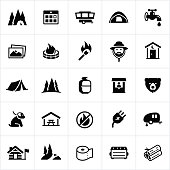 Icons related to campgrounds or campsites used for camping or outdoor recreation. The icons include a tent, campsite, utilities, campfire, forest ranger, wildlife, picnic table among others.