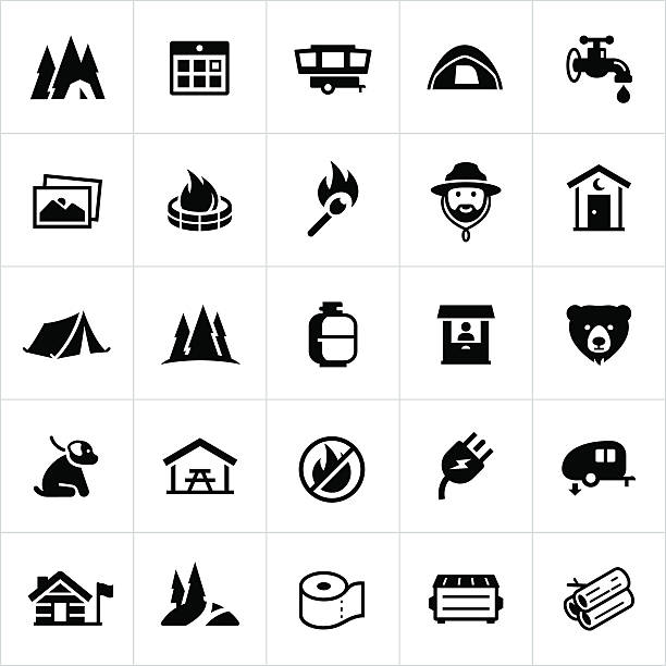 campground icons - dumpster fire stock illustrations