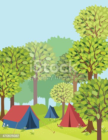 A green forest with a campground. There are three tents. One rust coloured and two blue tents. They are old fashioned canvas tents. There are tall green deciduous trees all around with hills and wildflowers.