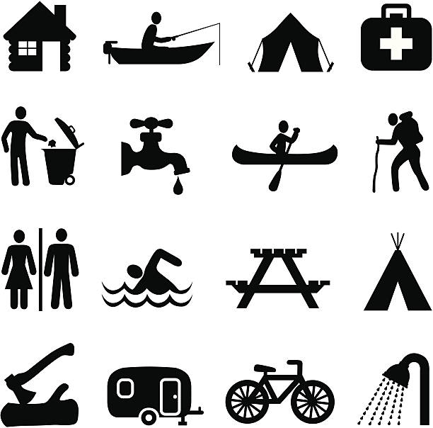 campground map Vector icons useful for making a campground map. teepee stock illustrations