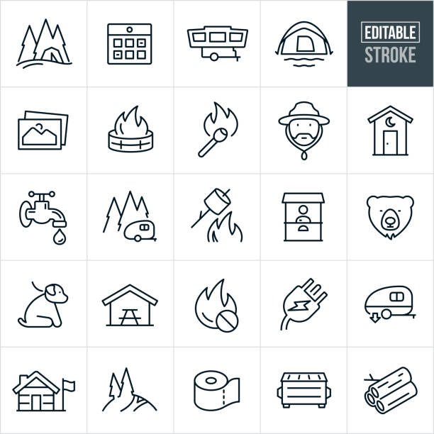 Campground Thin Line Icons - Editable Stroke A set of campground icons that include editable strokes or outlines using the EPS vector file. The icons include a tent in the trees, calendar reservation, tent trailer, dome tent, outdoor pictures, fire pit with fire, lit match, park ranger, outhouse, water spigot, camp trailer in the trees, marshmallow roasting over fire, pay booth, bear, dog on leash, park bench under canopy, no fires symbol, power plug, RV dump station, RV, mountain trail, toilet paper, ranger station, dumpster and firewood. dumpster fire stock illustrations