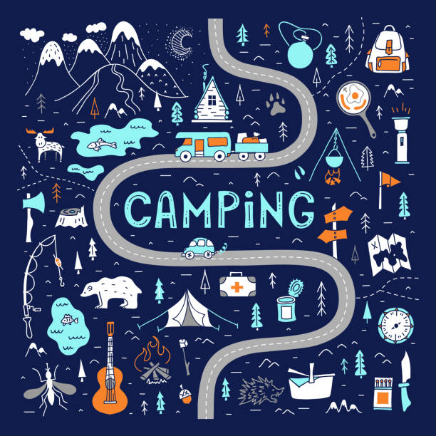 Camping. A hand-drawn map with basic symbols and places to travel for the weekend. Camping map with lettering. Tourist route for a weekend trip. Hand-drawn vector illustration in doodle style. Hiking trail. Trekking in the forest and outdoor recreation. adventure patterns stock illustrations