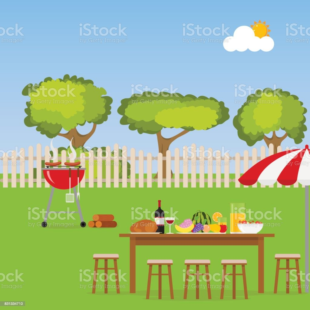 Camping. A table with food and a grill. Grilling sausages on the grill vector art illustration
