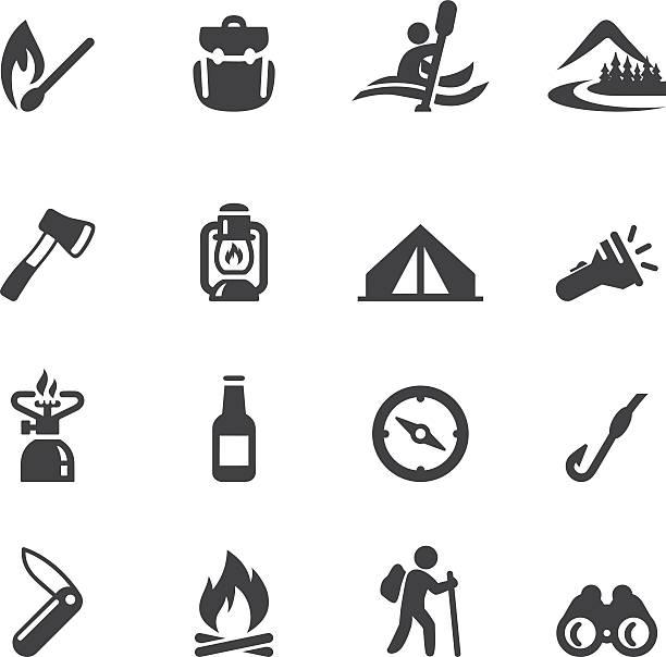 Camping Adventure Silhouette icônes - Illustration vectorielle