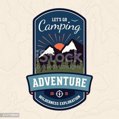Camping wilderness adventure badge graphic design emblem.