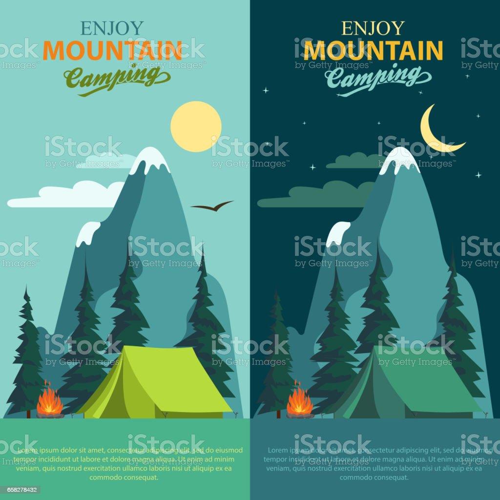 Camping Adventure, bonfire fire and tent, vector vector art illustration