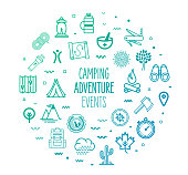Camping adventure events outline style symbols on modern gradient background. Line vector icons for infographics, mobile and web designs.