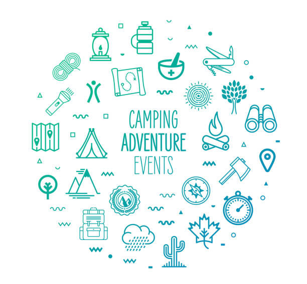Camping Adventure Events Outline Style Infographic Design Camping adventure events outline style symbols on modern gradient background. Line vector icons for infographics, mobile and web designs. adventure icons stock illustrations