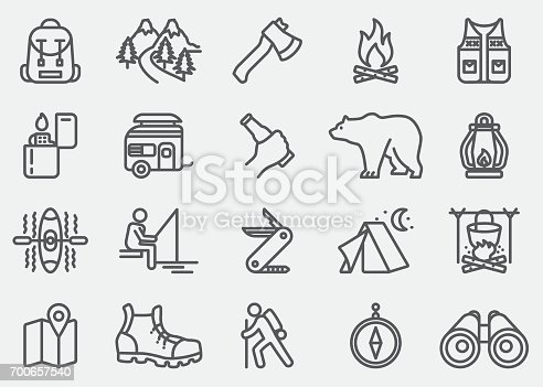 istock Camping Adventure Line Icons 700657540