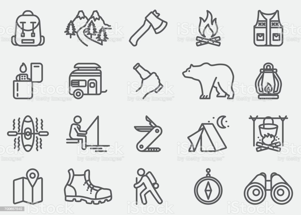 Camping Adventure lijn pictogrammen​​vectorkunst illustratie