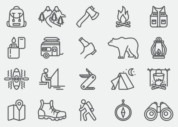Camping Adventure Line Icons vector art illustration