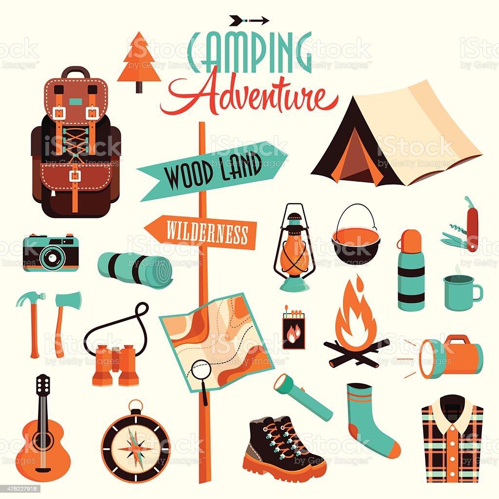 Camping adventure pack vector art illustration