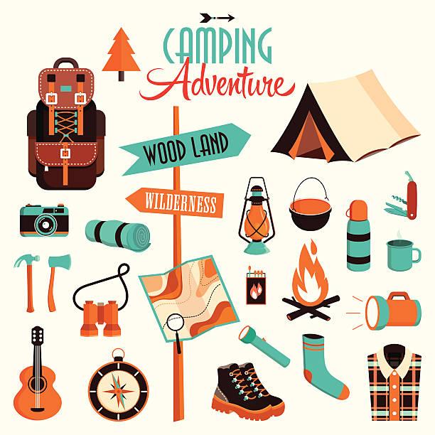 camping-package - zeltausrüstung stock-grafiken, -clipart, -cartoons und -symbole