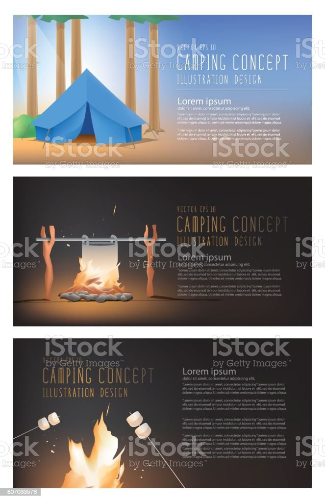 Camping and campfire banner set collection illustration vector. vector art illustration