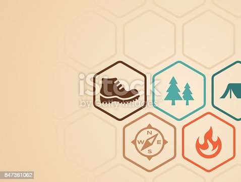 Camping and hiking symbols background with copy space.
