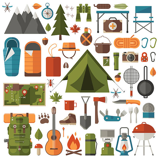 Camping And Hiking Equipment Set Vector Art Illustration