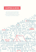 Camping and Hiking - line design brochure poster template A4