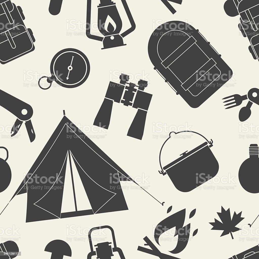 Hiking outline pattern. Camping seamless background of camp and hike...
