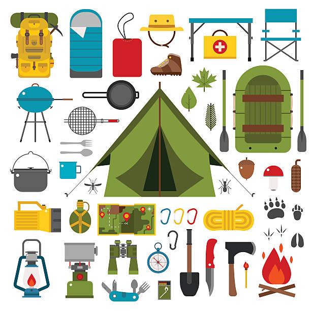 camping und wandern vektor-icons - zeltausrüstung stock-grafiken, -clipart, -cartoons und -symbole