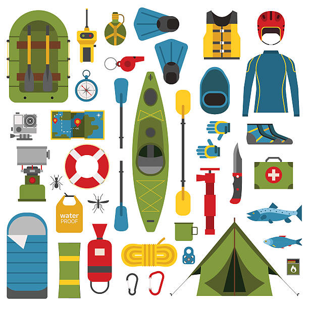 camping and hiking vector icons - kayaking stock illustrations, clip art, cartoons, & icons